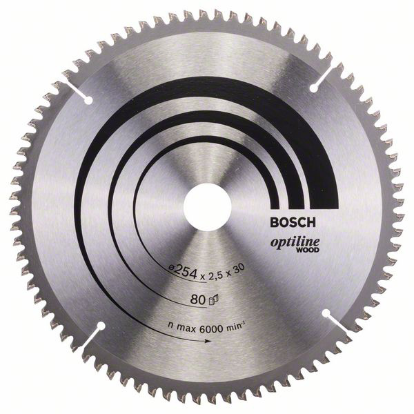 Bosch 2608640437 Optiline Wood Sahanterä 254x2,5x30mm, 80T