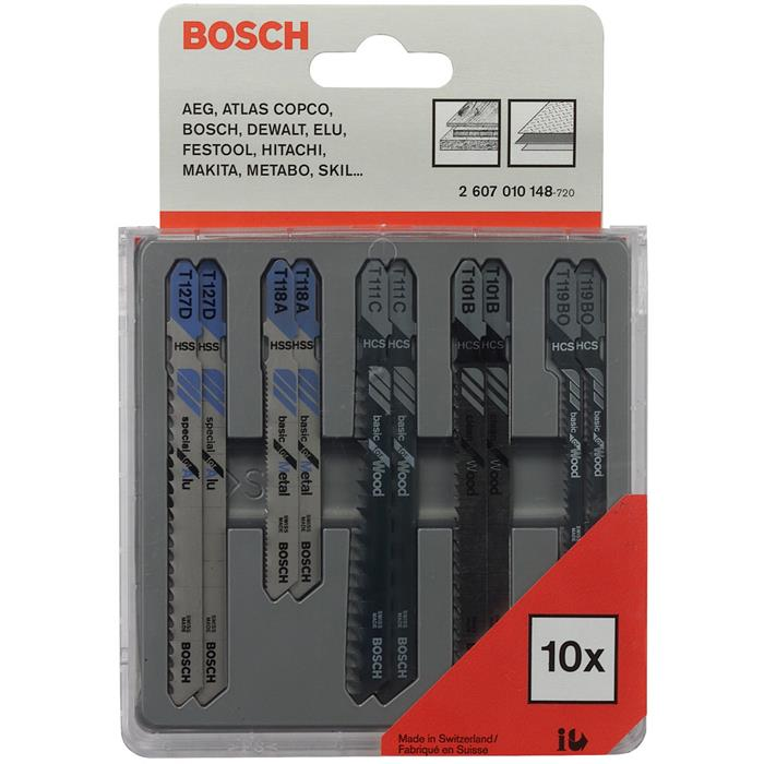 Bosch 2607010148 Metal and Wood Pistosahanteräsarja 10 osaa